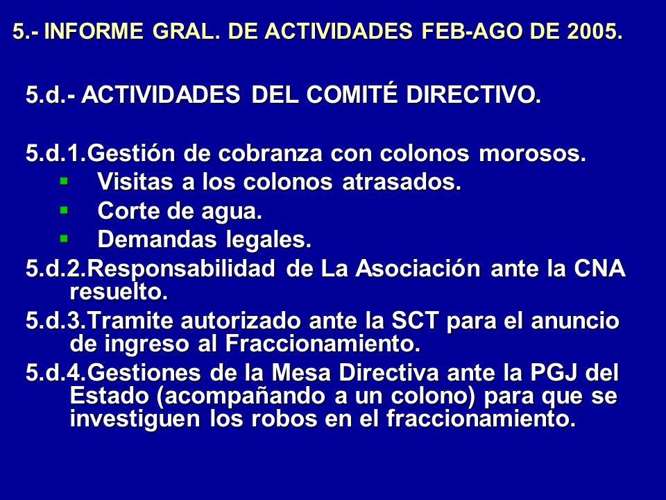 5.- INFORME GRAL. DE ACTIVIDADES FEB-AGO DE 2005. 5.d.- ACTIVIDADES DEL COMITÉ DIRECTIVO. 5.d.1.Gestión de cobranza con colonos morosos. Visitas a los