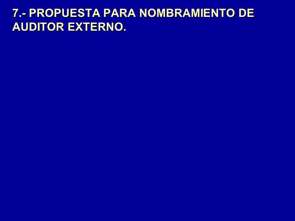 7.- PROPUESTA PARA NOMBRAMIENTO DE AUDITOR EXTERNO.