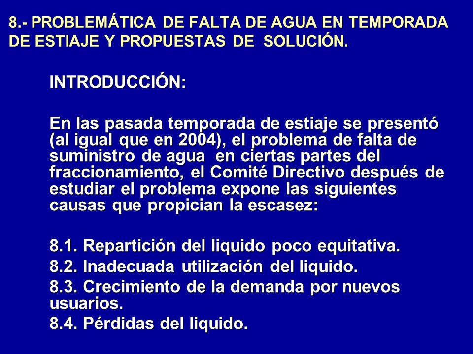 8.- PROBLEMÁTICA DE FALTA DE AGUA EN TEMPORADA DE ESTIAJE Y PROPUESTAS DE SOLUCIÓN. INTRODUCCIÓN: En las pasada temporada de estiaje se presentó (al i