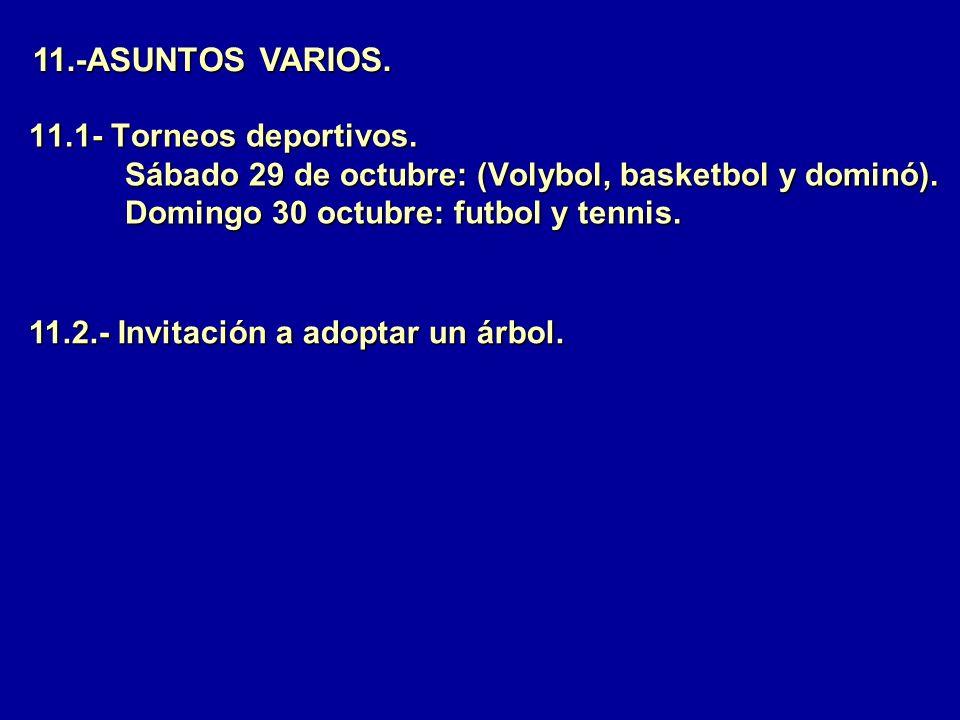 11.1- Torneos deportivos. Sábado 29 de octubre: (Volybol, basketbol y dominó). Domingo 30 octubre: futbol y tennis. 11.-ASUNTOS VARIOS. 11.2.- Invitac