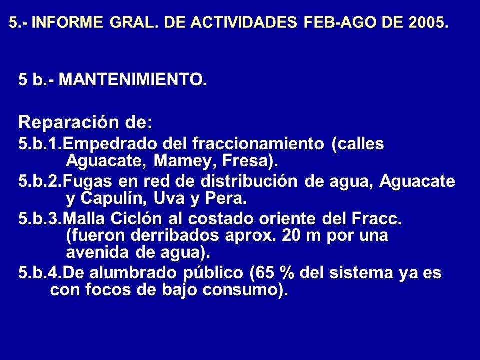 5.- INFORME GRAL. DE ACTIVIDADES FEB-AGO DE 2005. 5 b.- MANTENIMIENTO. Reparación de: 5.b.1.Empedrado del fraccionamiento (calles Aguacate, Mamey, Fre