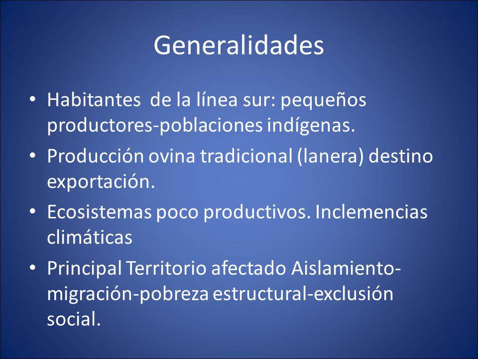Generalidades Habitantes de la línea sur: pequeños productores-poblaciones indígenas. Producción ovina tradicional (lanera) destino exportación. Ecosi