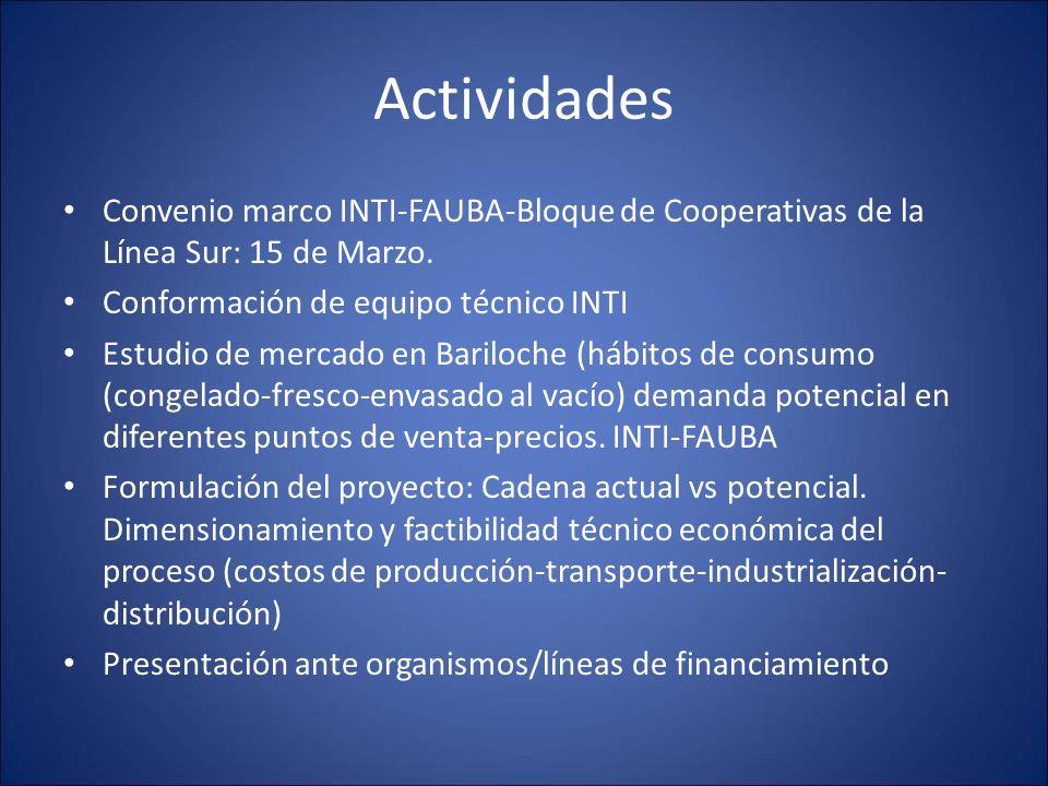 Actividades Convenio marco INTI-FAUBA-Bloque de Cooperativas de la Línea Sur: 15 de Marzo. Conformación de equipo técnico INTI Estudio de mercado en B