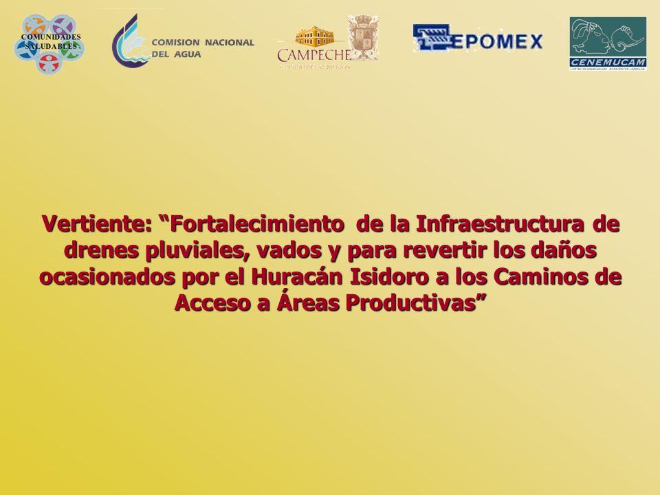 Vertiente: Fortalecimiento de la Infraestructura de drenes pluviales, vados y para revertir los daños ocasionados por el Huracán Isidoro a los Caminos