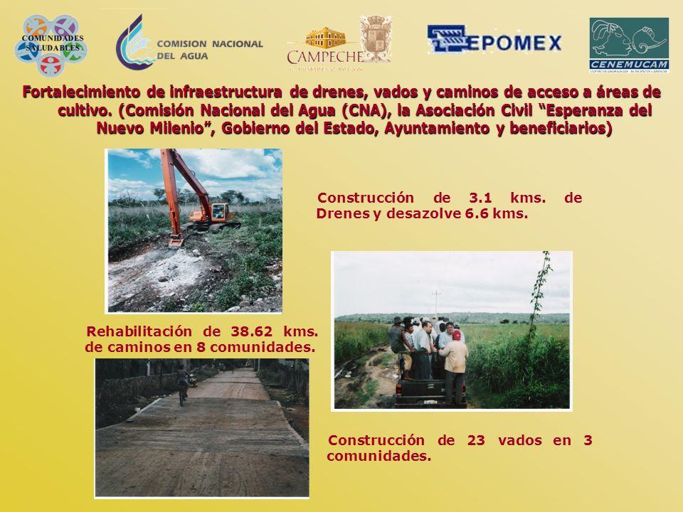 Fortalecimiento de infraestructura de drenes, vados y caminos de acceso a áreas de cultivo. (Comisión Nacional del Agua (CNA), la Asociación Civil Esp