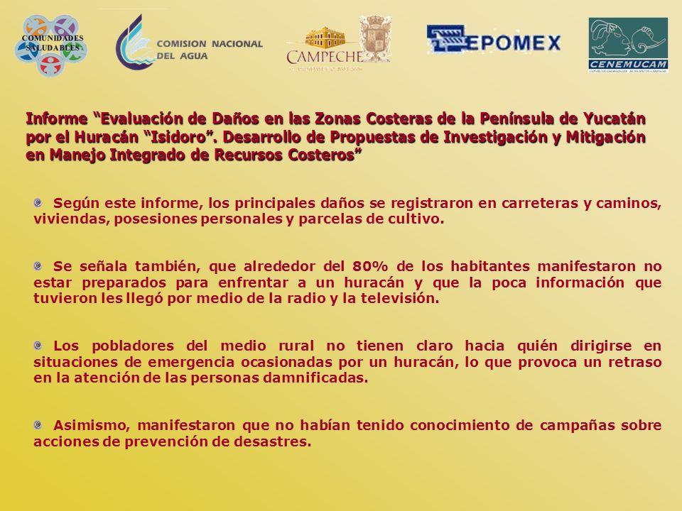 Informe Evaluación de Daños en las Zonas Costeras de la Península de Yucatán por el Huracán Isidoro. Desarrollo de Propuestas de Investigación y Mitig