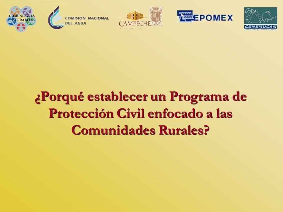 ¿Porqué establecer un Programa de Protección Civil enfocado a las Comunidades Rurales?