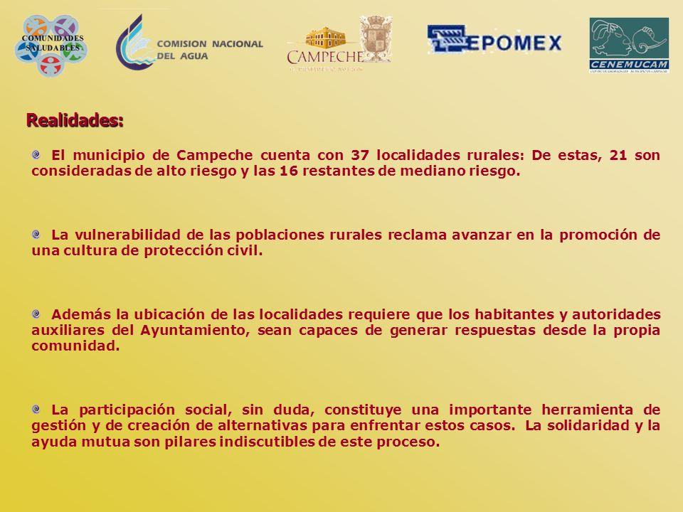 Realidades: El municipio de Campeche cuenta con 37 localidades rurales: De estas, 21 son consideradas de alto riesgo y las 16 restantes de mediano rie