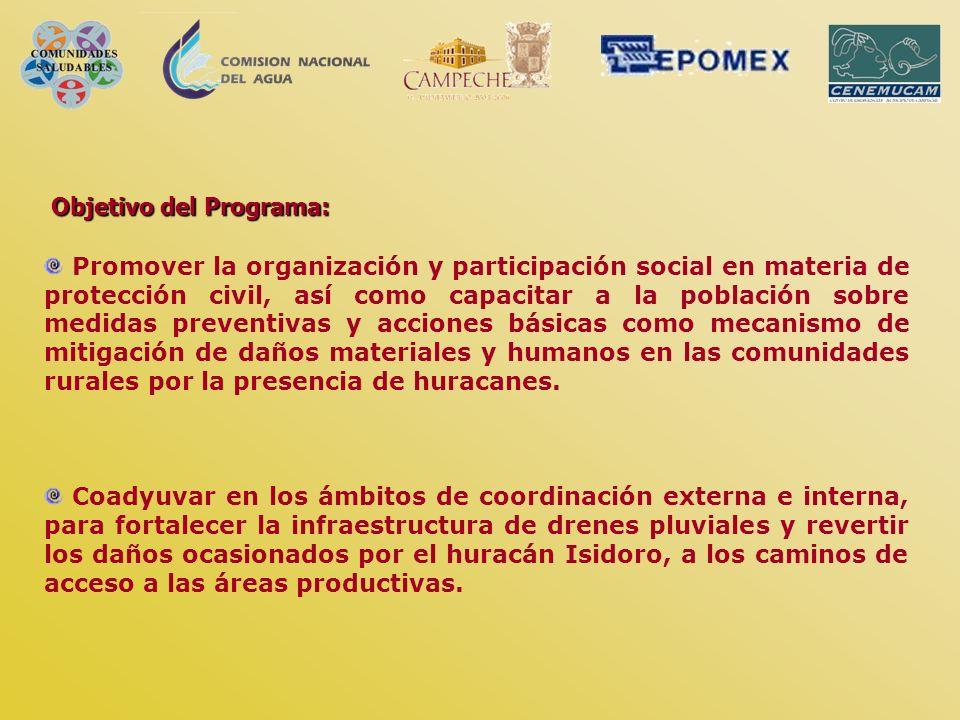 Objetivo del Programa: Promover la organización y participación social en materia de protección civil, así como capacitar a la población sobre medidas