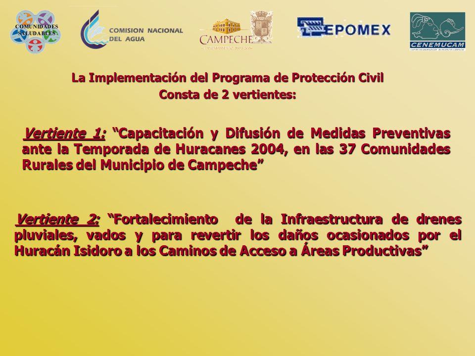 Vertiente 1: Capacitación y Difusión de Medidas Preventivas ante la Temporada de Huracanes 2004, en las 37 Comunidades Rurales del Municipio de Campec