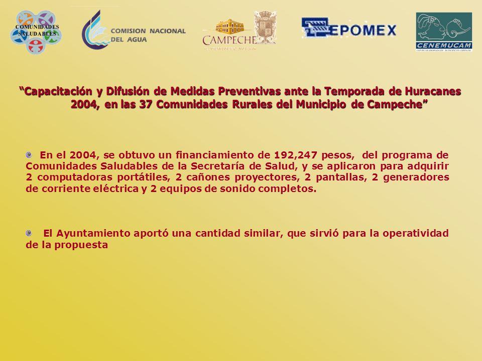 Capacitación y Difusión de Medidas Preventivas ante la Temporada de Huracanes 2004, en las 37 Comunidades Rurales del Municipio de Campeche En el 2004