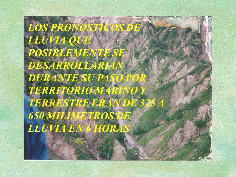 LOS PRONOSTICOS DE LLUVIA QUE POSIBLEMENTE SE DESARROLLARIAN DURANTE SU PASO POR TERRITORIO MARINO Y TERRESTRE ERAN DE 325 A 650 MILIMETROS DE LLUVIA