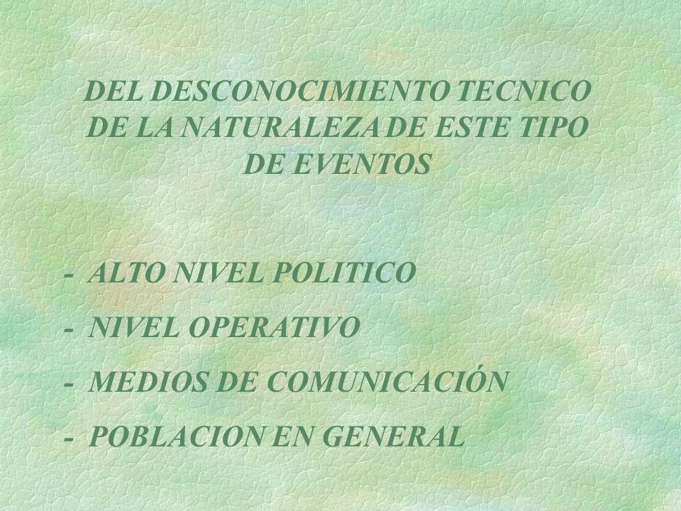 DEL DESCONOCIMIENTO TECNICO DE LA NATURALEZA DE ESTE TIPO DE EVENTOS - ALTO NIVEL POLITICO - NIVEL OPERATIVO - MEDIOS DE COMUNICACIÓN - POBLACION EN G