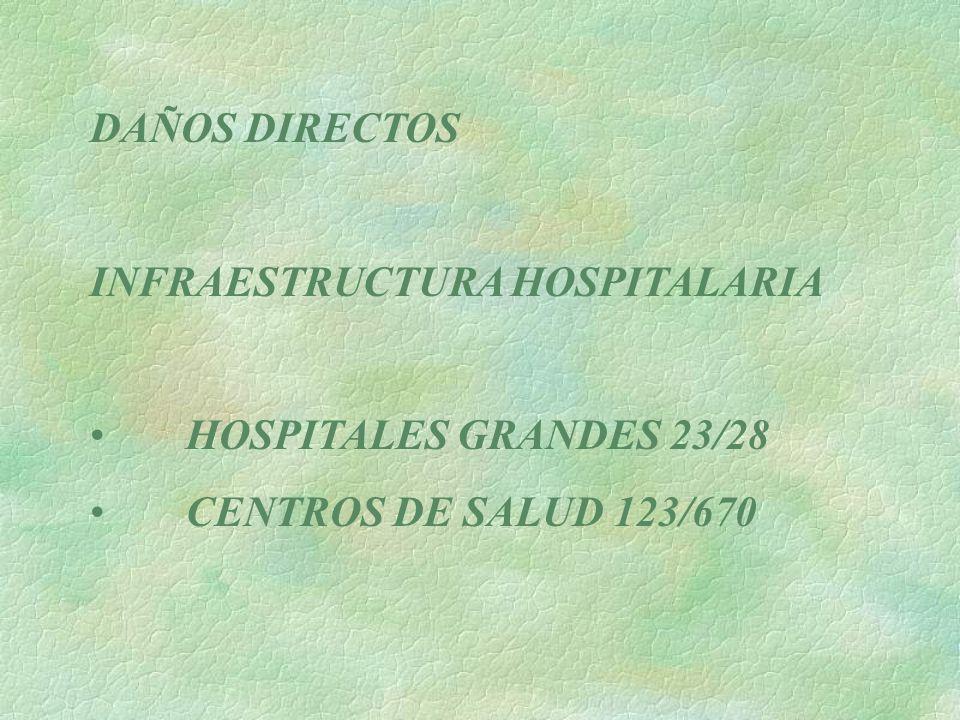 DAÑOS DIRECTOS INFRAESTRUCTURA HOSPITALARIA HOSPITALES GRANDES 23/28 CENTROS DE SALUD 123/670