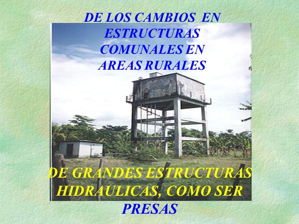 DE LOS CAMBIOS EN ESTRUCTURAS COMUNALES EN AREAS RURALES DE GRANDES ESTRUCTURAS HIDRAULICAS, COMO SER PRESAS