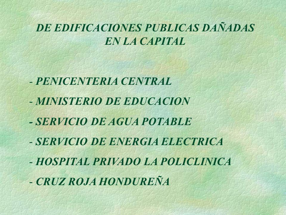 DE EDIFICACIONES PUBLICAS DAÑADAS EN LA CAPITAL - PENICENTERIA CENTRAL - MINISTERIO DE EDUCACION - SERVICIO DE AGUA POTABLE - SERVICIO DE ENERGIA ELEC