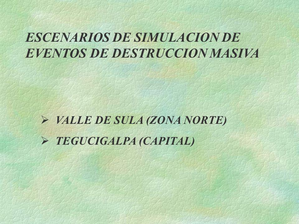 ESCENARIOS DE SIMULACION DE EVENTOS DE DESTRUCCION MASIVA VALLE DE SULA (ZONA NORTE) TEGUCIGALPA (CAPITAL)