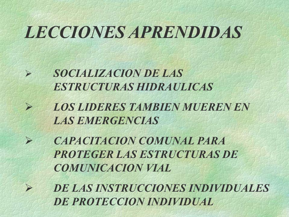 LECCIONES APRENDIDAS SOCIALIZACION DE LAS ESTRUCTURAS HIDRAULICAS LOS LIDERES TAMBIEN MUEREN EN LAS EMERGENCIAS CAPACITACION COMUNAL PARA PROTEGER LAS