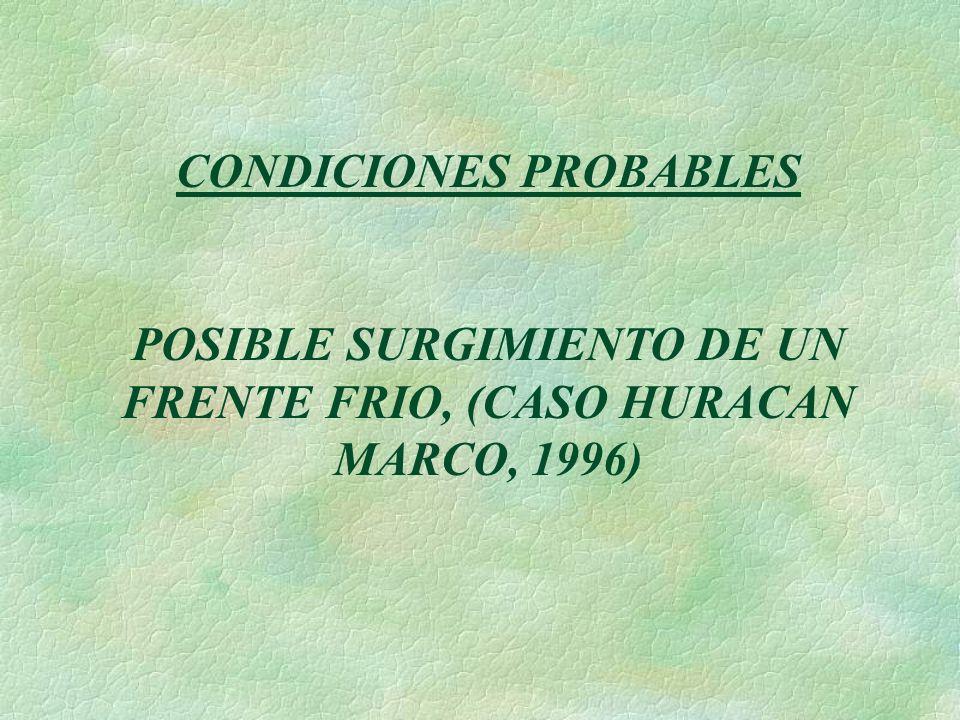 CONDICIONES PROBABLES POSIBLE SURGIMIENTO DE UN FRENTE FRIO, (CASO HURACAN MARCO, 1996)