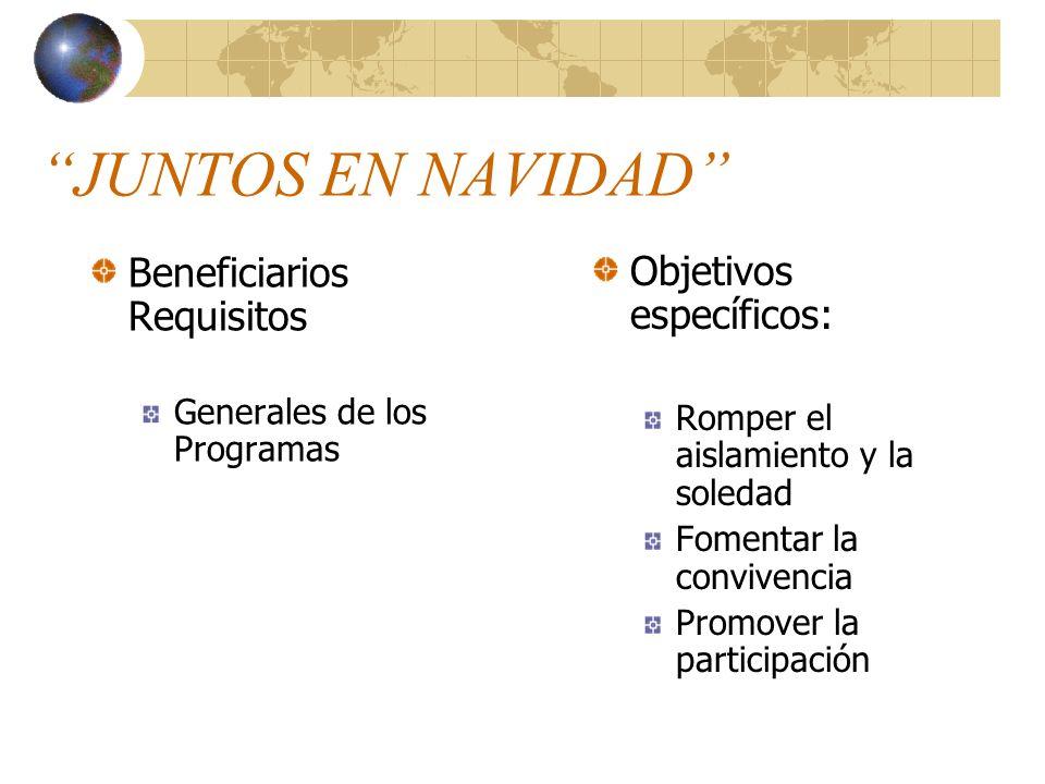 JUNTOS EN NAVIDAD Beneficiarios Requisitos Generales de los Programas Objetivos específicos: Romper el aislamiento y la soledad Fomentar la convivenci