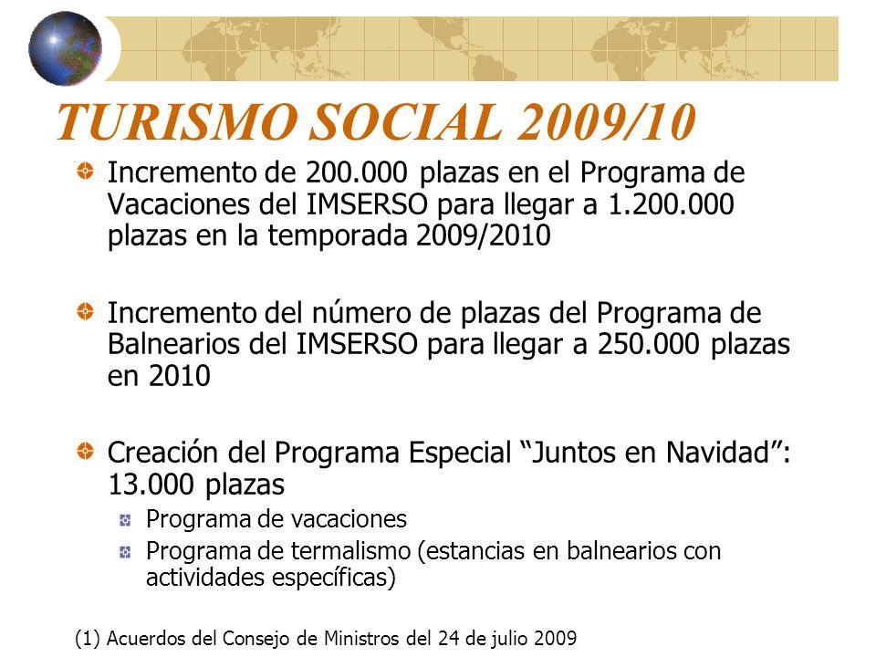 TURISMO SOCIAL 2009/10 Incremento de 200.000 plazas en el Programa de Vacaciones del IMSERSO para llegar a 1.200.000 plazas en la temporada 2009/2010