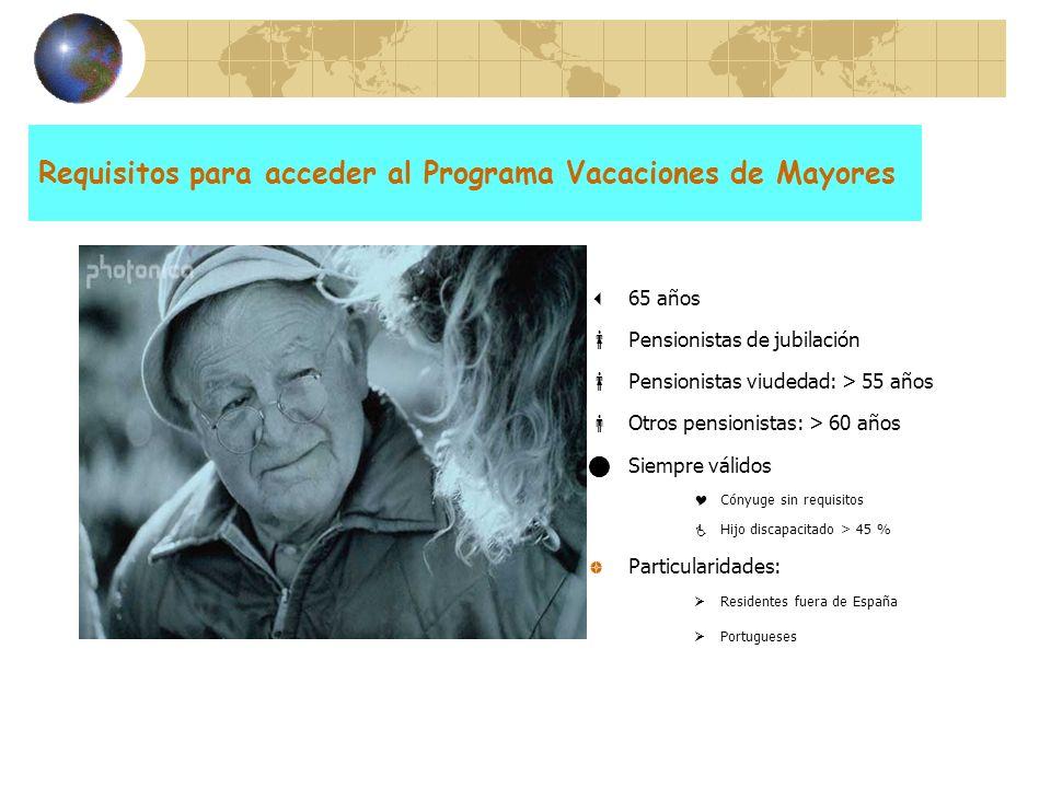 Requisitos para acceder al Programa Vacaciones de Mayores 65 años Pensionistas de jubilación Pensionistas viudedad: > 55 años Otros pensionistas: > 60