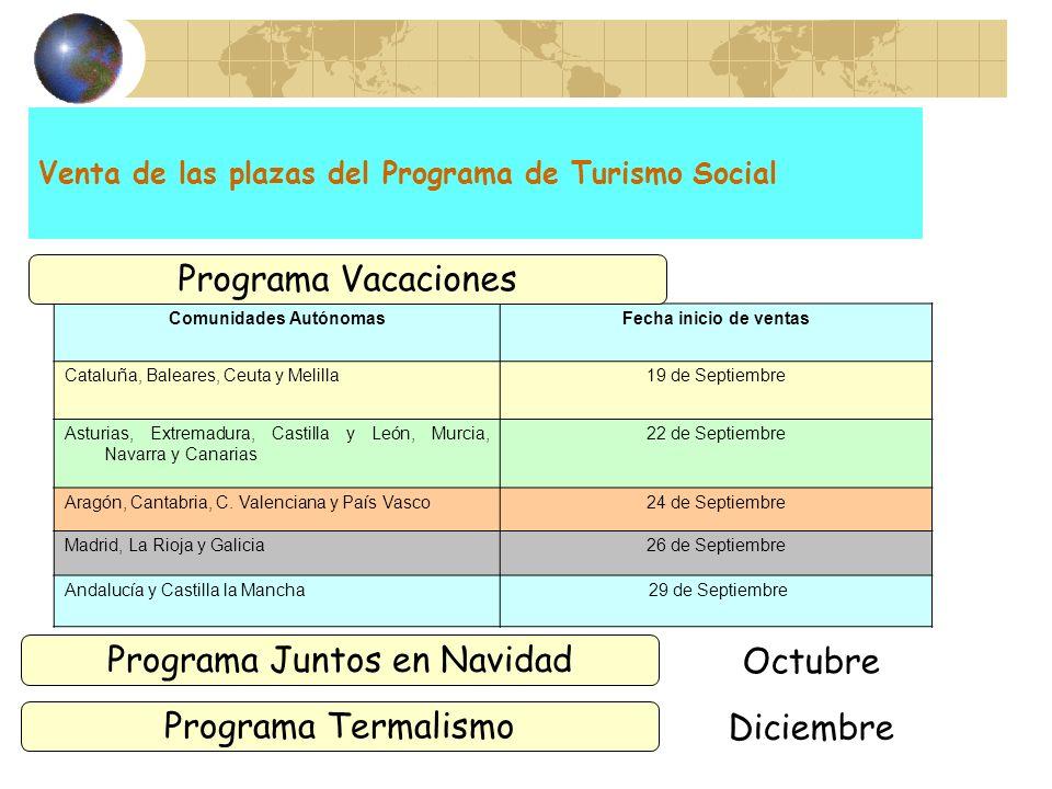 Venta de las plazas del Programa de Turismo Social Presentación de solicitudes Comunidades AutónomasFecha inicio de ventas Cataluña, Baleares, Ceuta y
