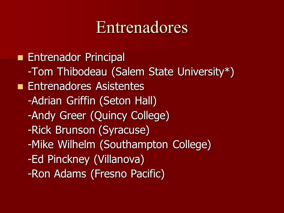 Entrenadores Entrenador Principal Entrenador Principal -Tom Thibodeau (Salem State University*) Entrenadores Asistentes Entrenadores Asistentes -Adria