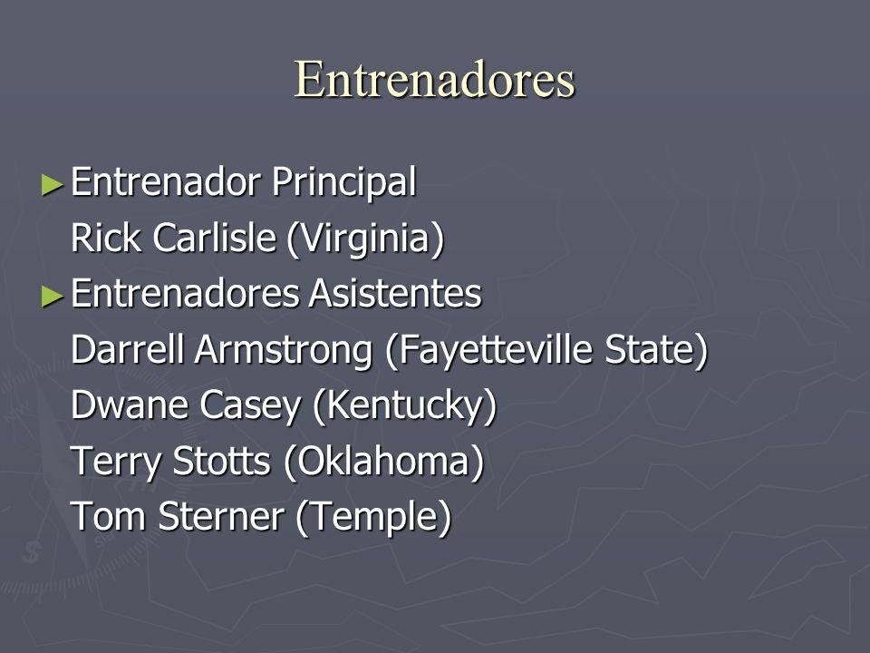 Entrenadores Entrenador Principal Entrenador Principal Rick Carlisle (Virginia) Entrenadores Asistentes Entrenadores Asistentes Darrell Armstrong (Fay