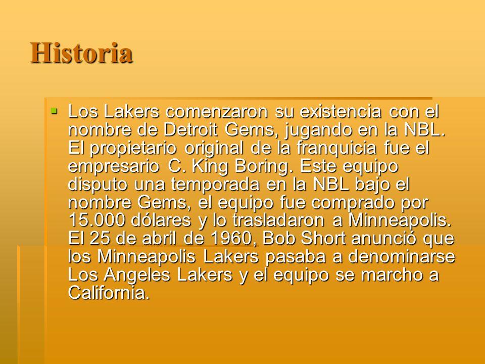 Historia Los Lakers comenzaron su existencia con el nombre de Detroit Gems, jugando en la NBL.