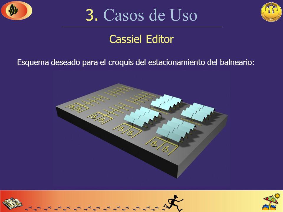 Cassiel Editor 3. Casos de Uso Veremos como resolver las siguientes situaciones: Creación de un nuevo tipo de instalación (cochera). Creación de un cr