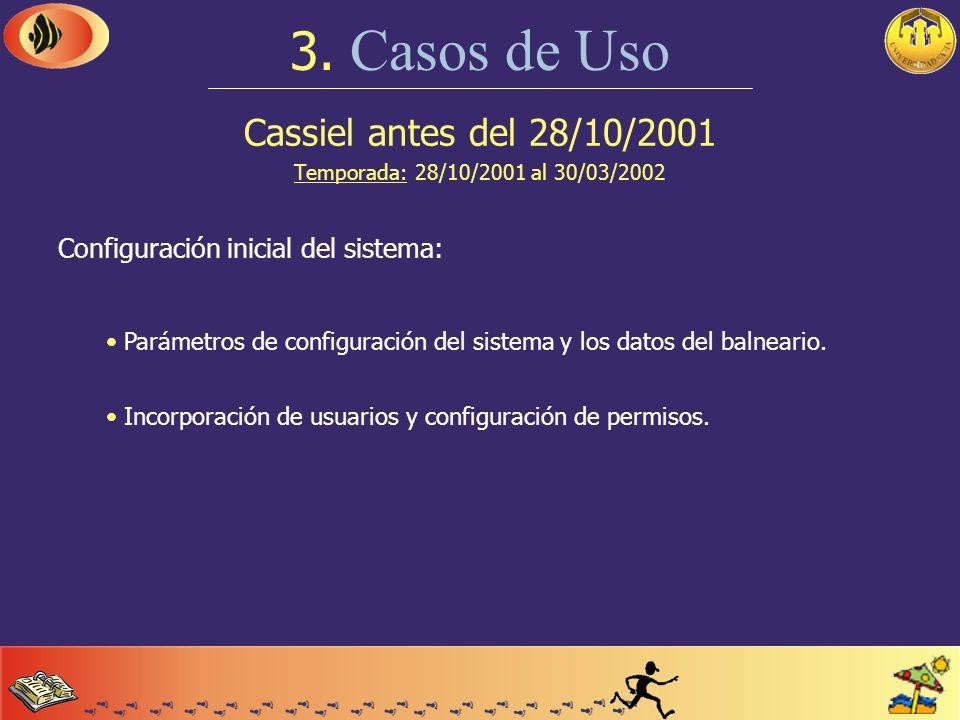 Cassiel 3. Casos de Uso Veremos como resolver las situaciones más usuales, en tres momentos distintos del año. Temporada: 28 de octubre de 2001 al 30