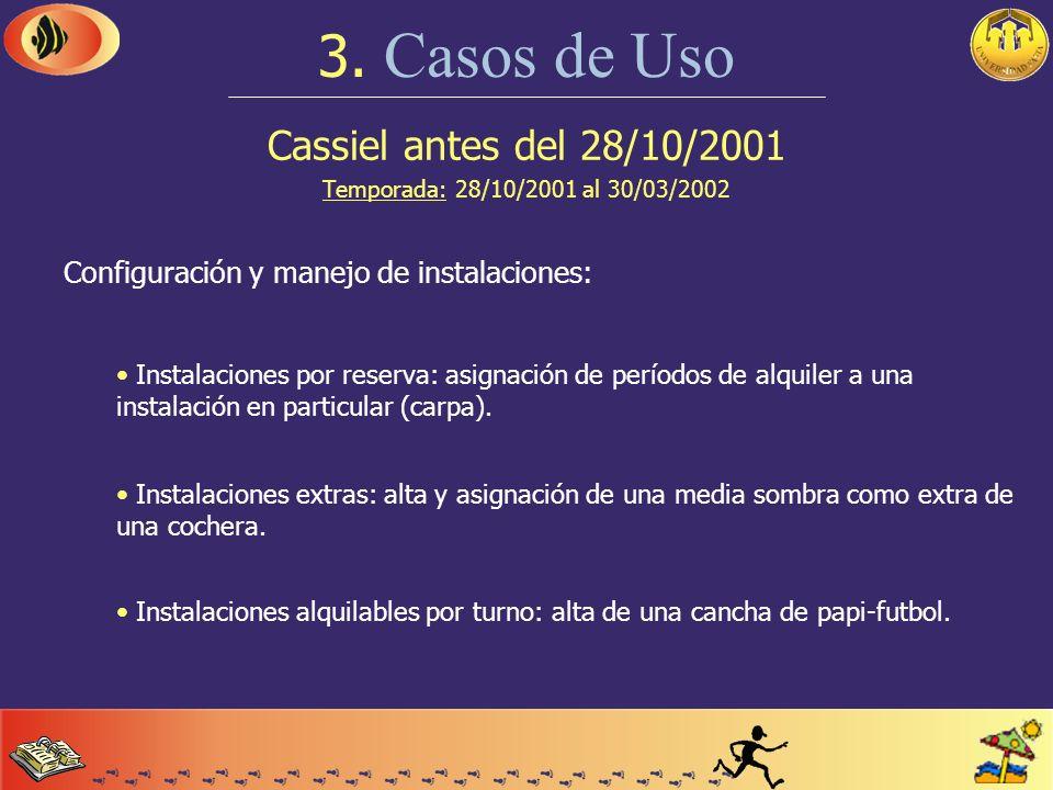 Cassiel antes del 28/10/2001 Temporada: 28/10/2001 al 30/03/2002 3. Casos de Uso Configuración inicial del sistema: Parámetros de configuración del si