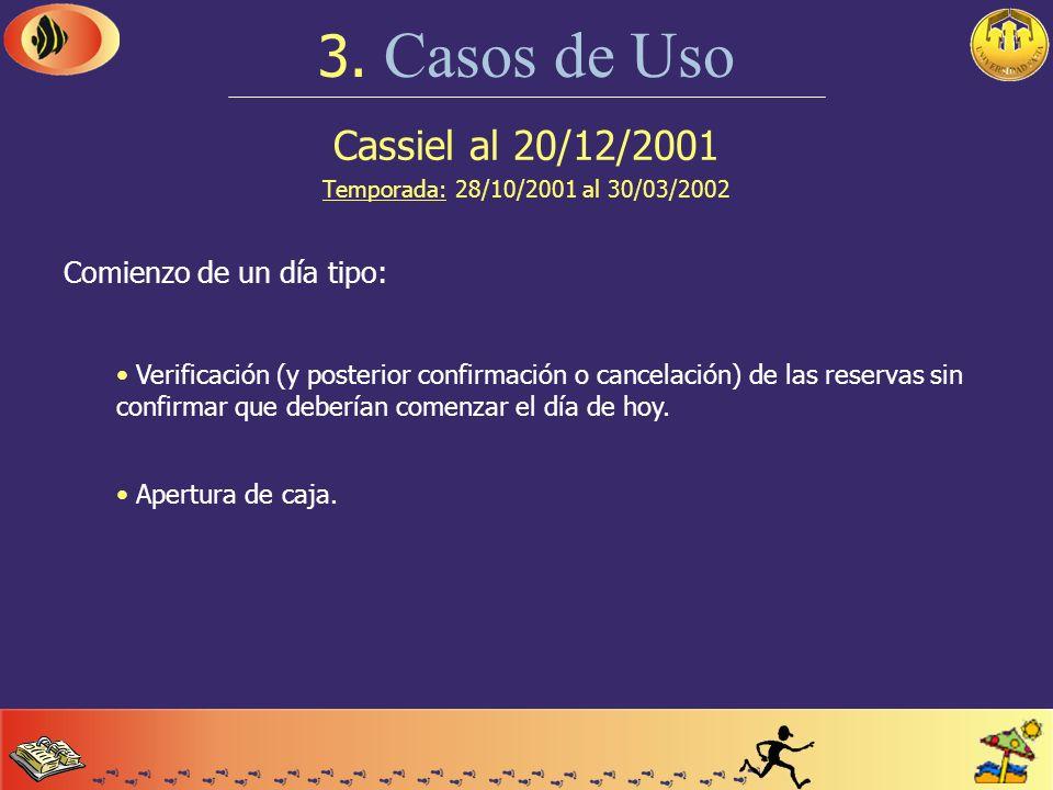 Cassiel antes del 28/10/2001 Temporada: 28/10/2001 al 30/03/2002 3. Casos de Uso Configuración y manejo de instalaciones: Instalaciones por reserva: a