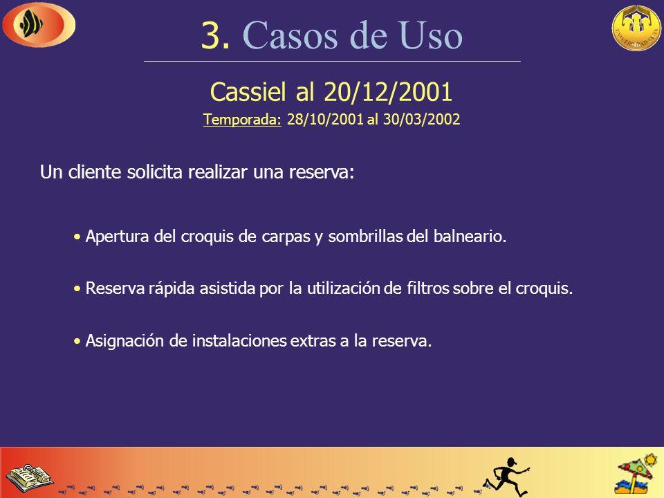 Cassiel al 20/12/2001 Temporada: 28/10/2001 al 30/03/2002 3. Casos de Uso Comienzo de un día tipo: Verificación (y posterior confirmación o cancelació