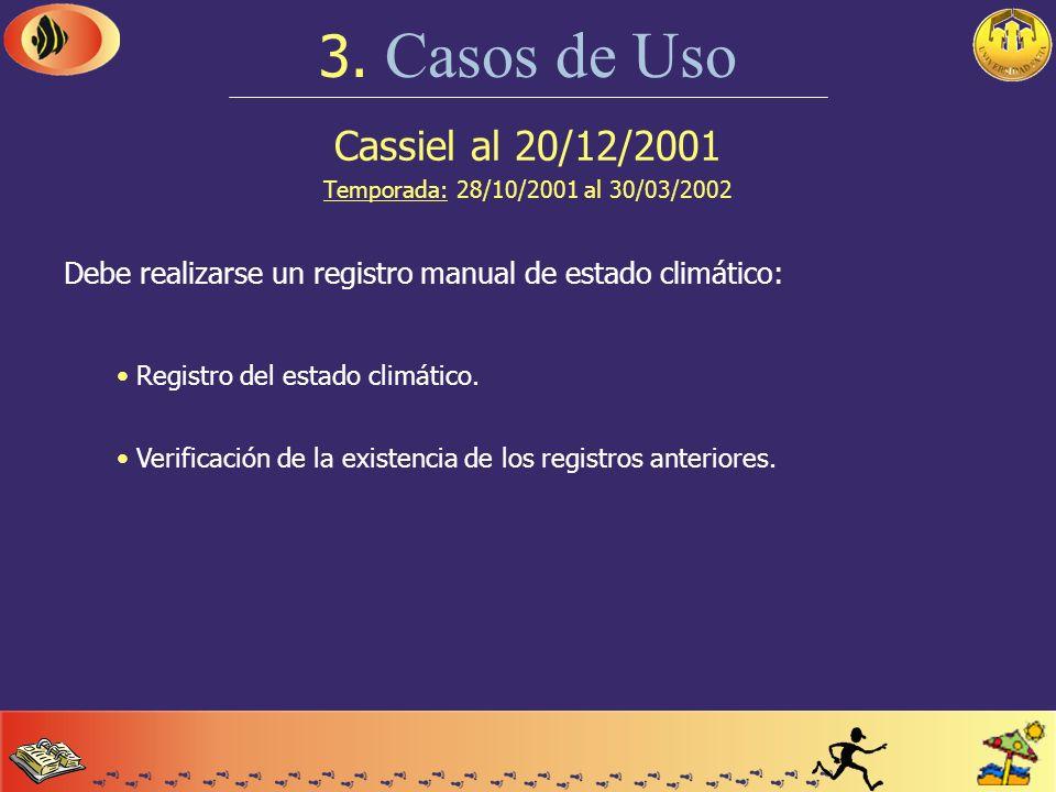 Cassiel al 20/12/2001 Temporada: 28/10/2001 al 30/03/2002 3. Casos de Uso Un cliente solicita un turno para la cancha de paddle: Reserva del turno. As