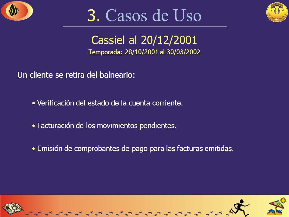 Cassiel al 20/12/2001 Temporada: 28/10/2001 al 30/03/2002 3. Casos de Uso Debe realizarse un registro manual de estado climático: Registro del estado