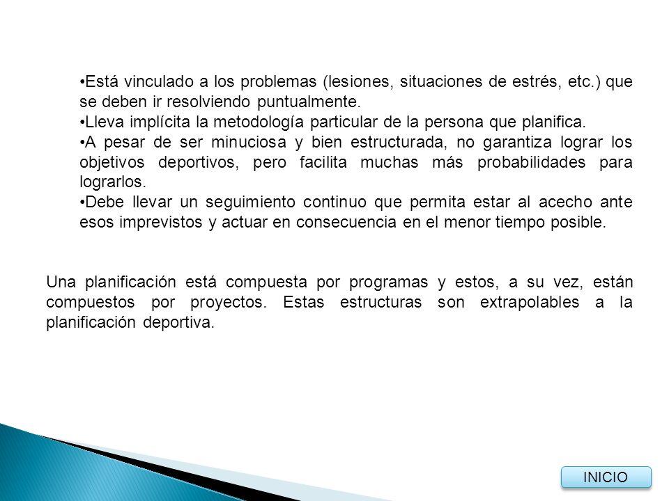 5.3.1 Estructuras en la planificación Al igual que una planificación general, la planificación deportiva está compuesta por estructuras.