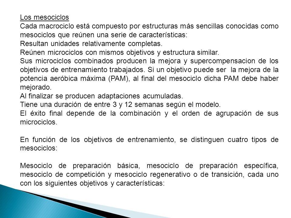 Mesociclo de preparación básica: Se acumula entrenamiento y permite la tolerancia de mas trabajo especifico y competitivo posteriores.