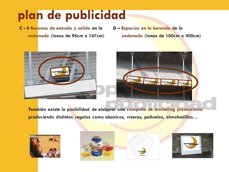 plan de publicidad C - 8 Bocanas de entrada y salida en la andanada (lonas de 98cm x 187cm) D – Espacios en la baranda de la andanada (lonas de 100cm