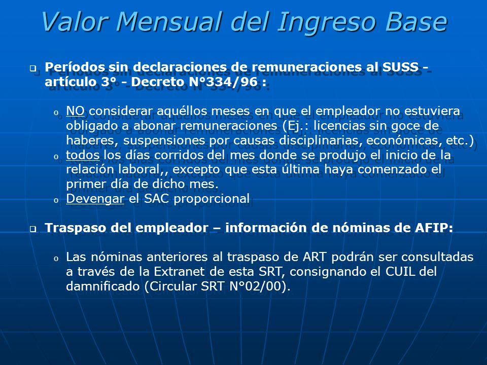 Valor Mensual del Ingreso Base Períodos sin declaraciones de remuneraciones al SUSS - artículo 3° - Decreto N°334/96 : o NO considerar aquéllos meses