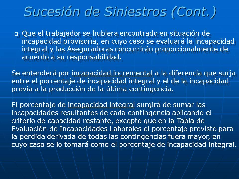 Sucesión de Siniestros (Cont.) Que el trabajador se hubiera encontrado en situación de incapacidad provisoria, en cuyo caso se evaluará la incapacidad