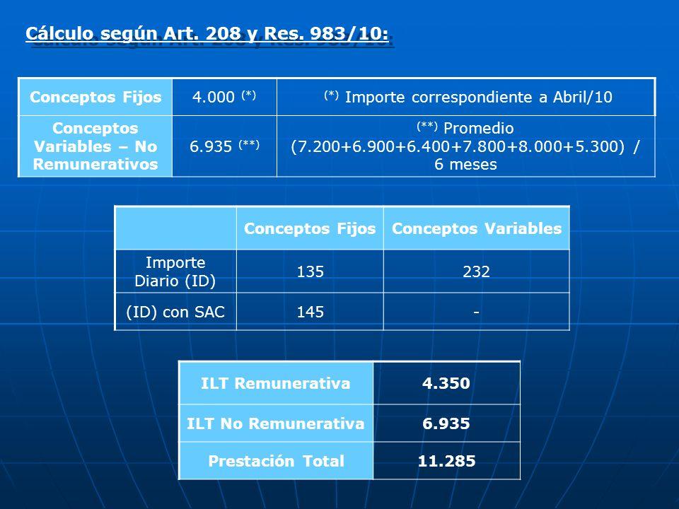 Cálculo según Art. 208 y Res. 983/10: Conceptos Fijos4.000 (*) (*) Importe correspondiente a Abril/10 Conceptos Variables – No Remunerativos 6.935 (**