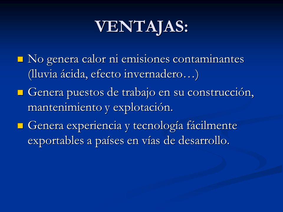 VENTAJAS: No genera calor ni emisiones contaminantes (lluvia ácida, efecto invernadero…) No genera calor ni emisiones contaminantes (lluvia ácida, efe