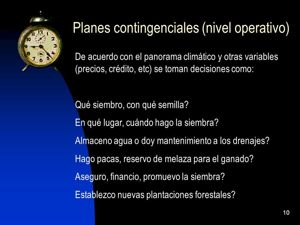 10 Planes contingenciales (nivel operativo) De acuerdo con el panorama climático y otras variables (precios, crédito, etc) se toman decisiones como: Q