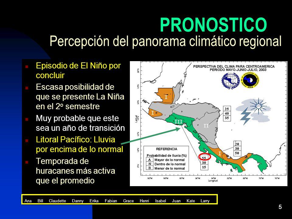 5 Percepción del panorama climático regional Episodio de El Niño por concluir Escasa posibilidad de que se presente La Niña en el 2 o semestre Muy pro
