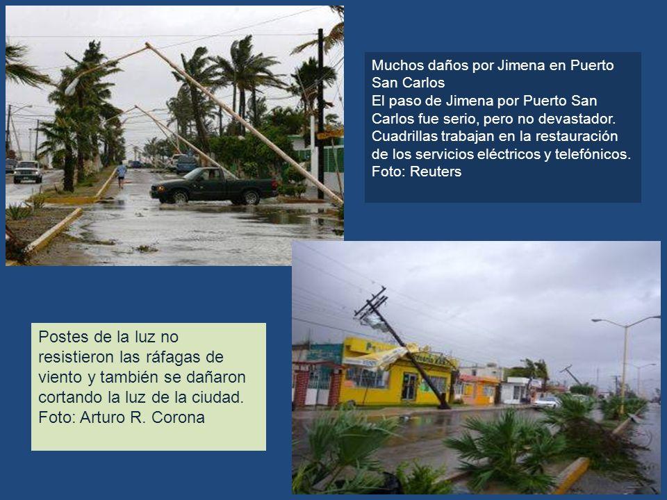 Muchos daños por Jimena en Puerto San Carlos El paso de Jimena por Puerto San Carlos fue serio, pero no devastador. Cuadrillas trabajan en la restaura