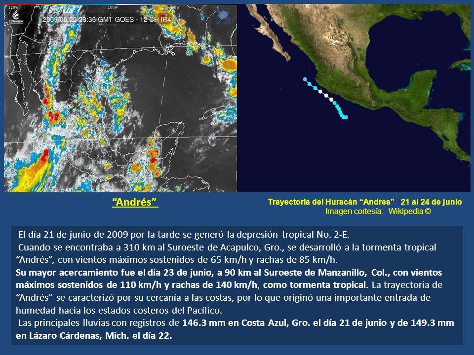 El día 21 de junio de 2009 por la tarde se generó la depresión tropical No. 2-E. Cuando se encontraba a 310 km al Suroeste de Acapulco, Gro., se desar