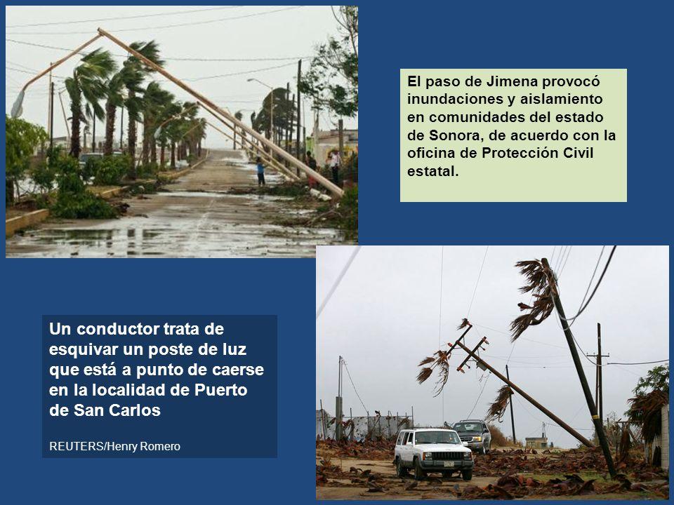 El paso de Jimena provocó inundaciones y aislamiento en comunidades del estado de Sonora, de acuerdo con la oficina de Protección Civil estatal. Un co