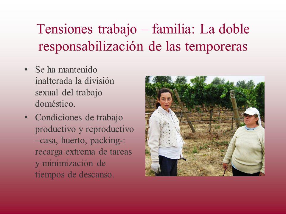 Tensiones trabajo – familia: La doble responsabilización de las temporeras Se ha mantenido inalterada la división sexual del trabajo doméstico.